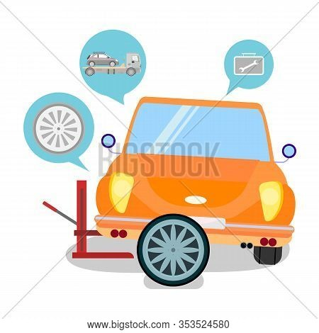 Car Service Tire Replacement Vector Illustration. Vehicle Breakdown. Automobile Tyre Changing. Carto