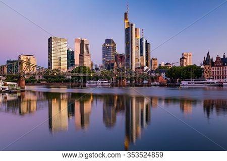 Frankfurt Am Main. Cityscape Of Frankfurt Am Main At Sunset. Reflection In The River Main