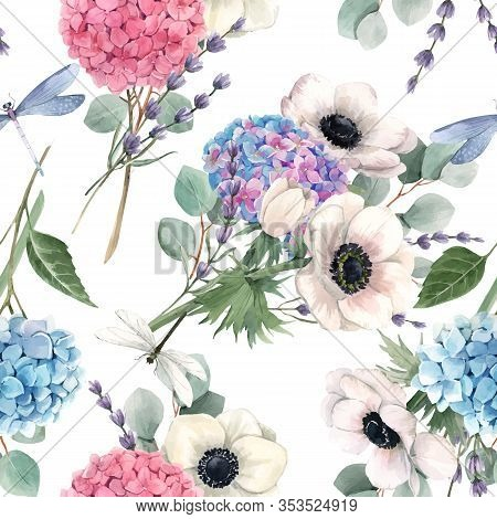 Beautiful Vector Seamless Pattern With Watercolor Pink, Blue, Violet Hydrangea Flowers And White Ane