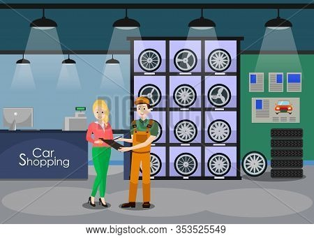 Spare Car Parts Shop Interior Flat Illustration. Client, Woman, Girl Buying Winter Wheels, Tires. Co