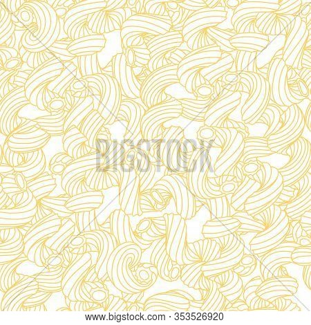 Beautiful Seamless Pattern Of Traditional Italian Pasta Shapes. Different Types Of Macaroni. Vector
