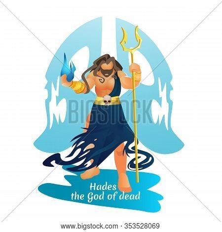 Dark Knight Hades Greek Mythology God Of Underworld Holding Bident And Hellfire, Ruler Of Shadows An