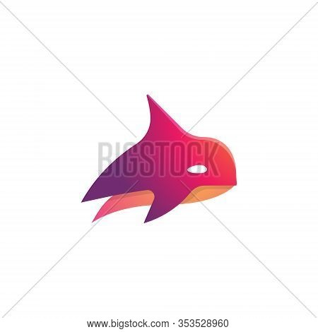 Abstract Red Orca Killer Whale Simple Symbol Logo