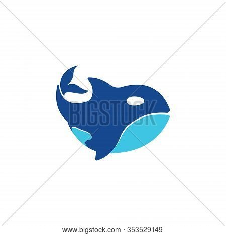 Cute Blue Orca Killer Whale Simple Symbol Logo