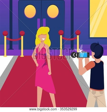 Woman On Red Carpet, Photo Celebrity Cartoon. Girl Celebrity In Evening Dress Posing For Photo Press
