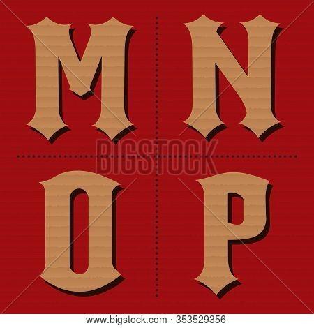 Cardboard Alphabet Western Letters Vintage Design Vector (m, N, O, P)