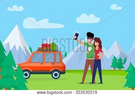 Couple Taking Selfie On Background Mountains. Couple Love Embraces And Makes Selfie. Man And Woman G