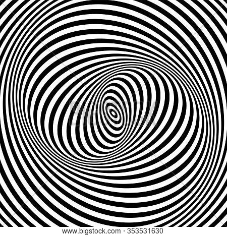 Illusion Of Spiral Swirl Vortex Movement. Op Art Lines Pattern And Texture. Vector Illustration.