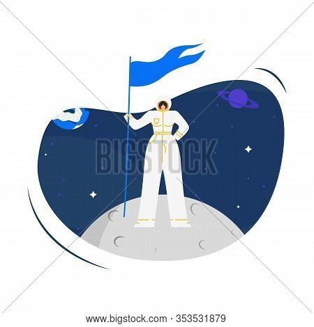 Woman Cosmonaut On Moon Flat Vector Illustration. Young Female Spacewoman Holding Flag Cartoon Chara