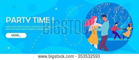 Party Time Banner. Cartoon People Dancing Waltz Vector Illustration. Couple Romantic Date On Dancefl