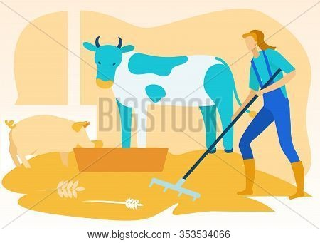 Woman In Uniform Cleans In Shed In Animals At Farm. Vector Flat Illustration. Working At Farm. Famil