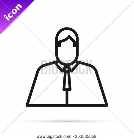 Black Line Lawyer, Attorney, Jurist Icon Isolated On White Background. Jurisprudence, Law Or Court I