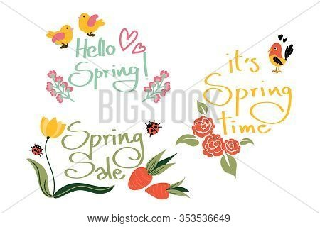 Cute Spring Season Text Collection Of Hello Spring, Spring Sale And It Is Spring Time Text With Litt