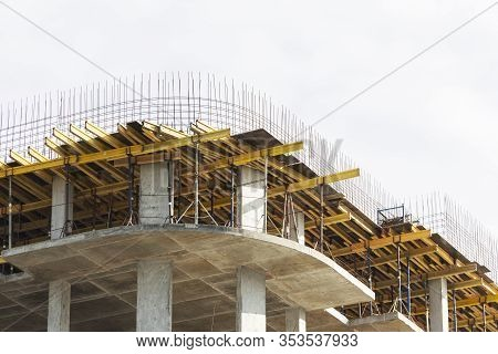 Construction Of Buildings Using Monolithic Technology. Reinforced Concrete Frame Of The Building, Re
