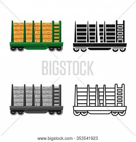 Vector Design Of Wagon And Container Symbol. Web Element Of Wagon And Transportation Stock Vector Il
