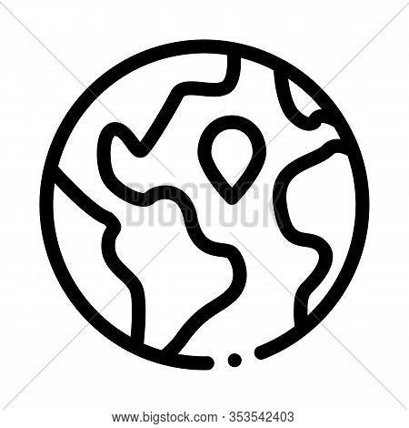 Earth Planet Topography Icon Thin Line Vector. Planet Globe, Sphere With Continents And Ocean, Geogr