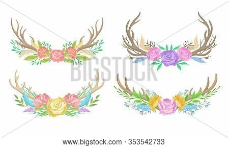 Deer Antlers Arranged With Showy Flower Buds And Tender Feathers Vector Set