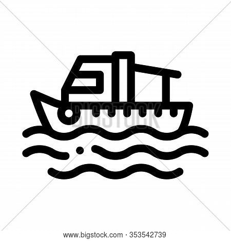 Fishing Boat On Water Wave Icon Thin Line Vector. Motor Boat, Sea Transport, Cruise Motorboat Concep