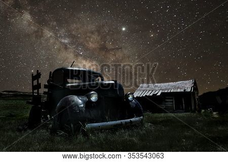 Star Trails and Milky Way in Bodie California Eastern Sierras
