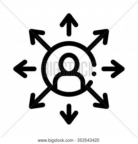Different Areas Of Activity Icon Thin Line Vector. Human In Center Of Circle With Arrows, Multitaski