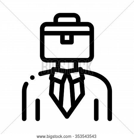 Businessman With Case Head Icon Thin Line Vector. Sme Subject Matter Expert Businessman Human Wearin