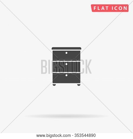 Dresser Flat Vector Icon. Glyph Style Sign. Simple Hand Drawn Illustrations Symbol For Concept Infog