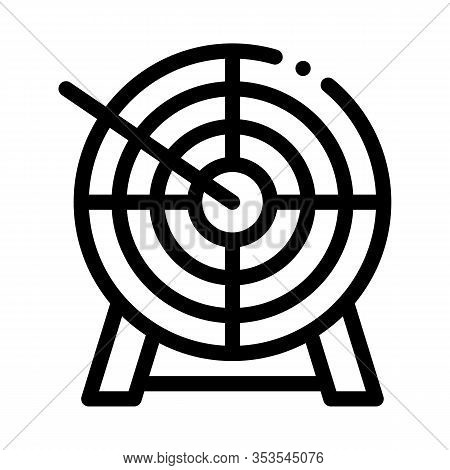 Arrow In Center Of Target Icon Thin Line Vector. Archery Arrow Bullseye Accuracy Wooden Desk Sportiv
