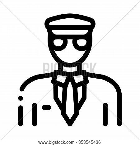 Pilot Aircraft Silhouette Icon Thin Line Vector. Pilot Human Wearing Professional Suit And Cap Conce