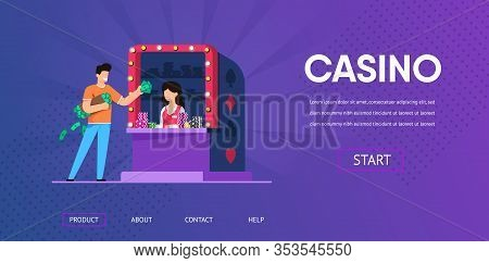Happy Man With Cash Money Buy Chip Token From Woman Casino Cashier Vector Illustration. Lucky Male W