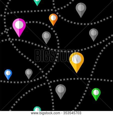 Map, Routes, Beacons, Seamless Pattern, Color, Black, Vector. Colored Beacons On A Black Field. Thin
