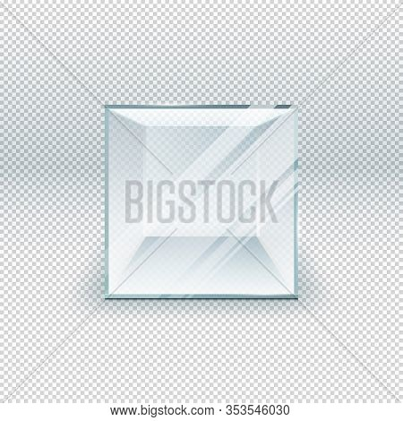 Glass Cube Isolated On Transparent Template. Crystal 3d Glass Box On Exhibition. Showcase Empty Clea
