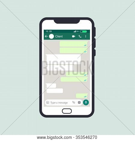 Mockup Of Phone With Mobile Messenger On Screen, Inspired By Whatsapp And Other Similar Apps. Modern
