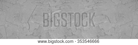 Concrete Mortar Strokes Widescreen Texture. Grey Wet Cement Long Background
