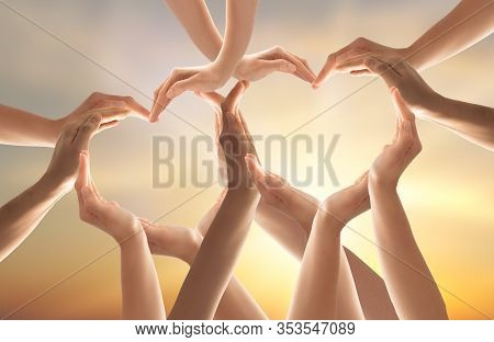 Symbol And Shape Of Heart Created From Hands.the Concept Of Unity, Cooperation, Partnership, Teamwor