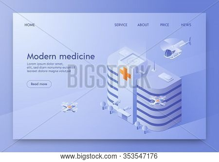 Written Modern Medicine Illustration Isometric. Modern High-rise Hospital Building Withlanding Pad F