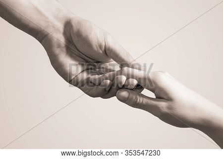 Lending Helping Hand. The Concept Of Compassion, Charity And Love.