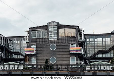 Hamburg, Germany - August 4, 2019: Gruner And Jahr Headquarter With Rainbow Gay Flags On The Balconi