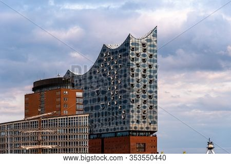 Hamburg, Germany - August 4, 2019: Elbphilharmonie Or Elbe Philharmonic Hall In The Hafencity Quarte
