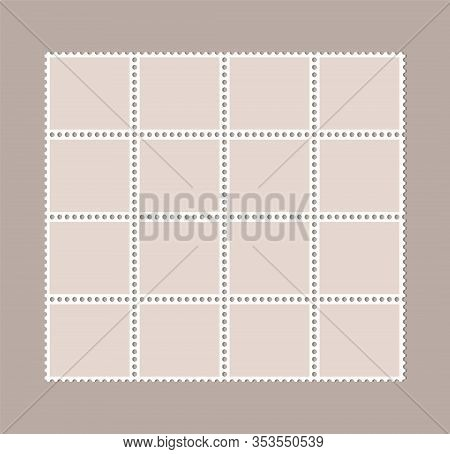 Blank Postage Stamps, Perforated Postage Stamps - Vector
