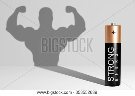 Battery Casts A Shadow Of Large Strong Muscular Man, Showing His Biceps On Gray Background. Inner St