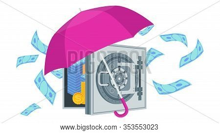 Umbrella Close Safe With Money. Business Metaphor. Protection Of Deposits And Investments. Bank Secr