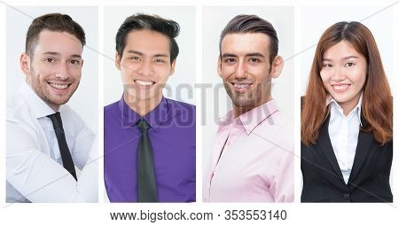 Happy Successful Business Professionals Shot Collage. Happy Young Men And Women Of Different Races S