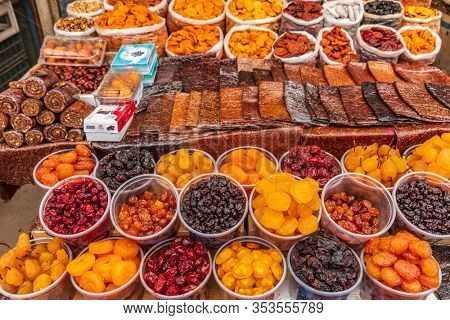 Gyumri , Armenia - August 15, 2019 : dried fruits Myakowski street open market landmark of Gyumri Shirak Armenia eastern Europe