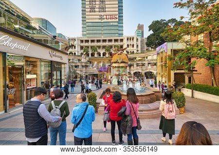 HONG KONG, CHINA - CIRCA JANUARY, 2019: street level view of the courtyard of 1881 Heritage in Hong Kong.