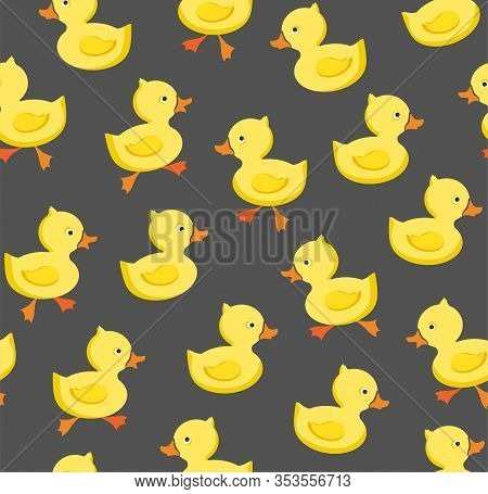 Ducklings, Seamless Pattern, Color, Gray, Vector. Yellow Ducklings On A Gray Field. Seamless Pattern