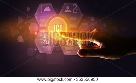 Hand touching ICT inscription, new technology concept