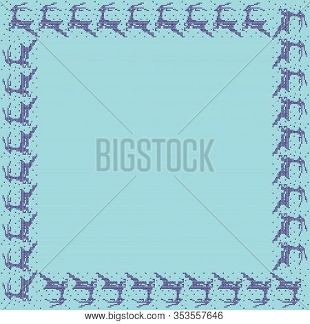 Norwegian Traditional Ornament. Square Frame With Zoomorphic Ornament. Knitting Pattern. Vector.