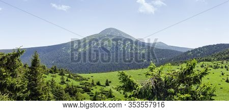 Mountain Hoverla In The Carpathian Mountains In Summer. Panoramic View From The West, Ukraine