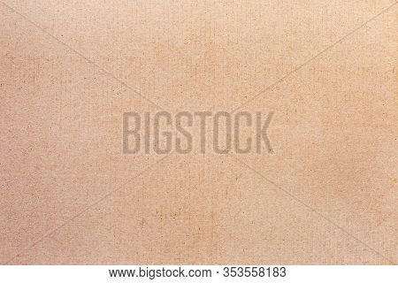 Fragment Of Sheet Of Unbleached Light Brown Cardboard Close-up, Texture, Background