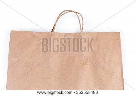 Paper Shopping Bag Made With Light Brown Unbleached Paper, Upper Part With Twisted Paper Rope Handle
